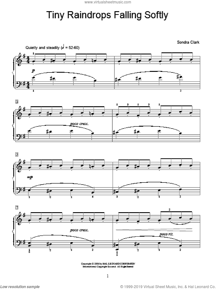 Tiny Raindrops Falling Softly sheet music for piano solo (elementary) by Sondra Clark and Miscellaneous. Score Image Preview.