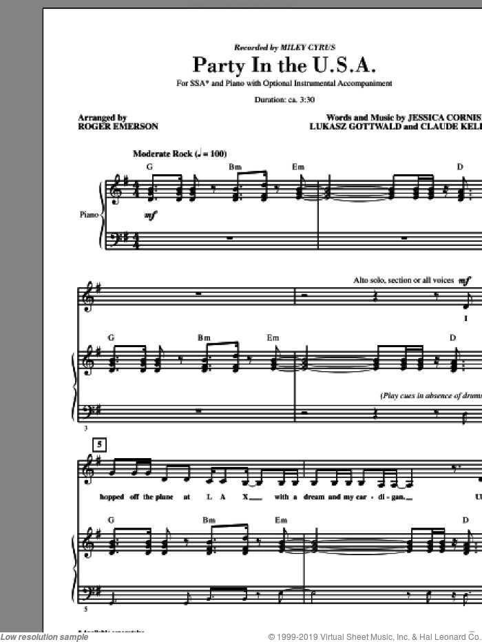 Party In The USA (arr. Roger Emerson) sheet music for choir (SSA: soprano, alto) by Lukasz Gottwald, Claude Kelly, Jessica Cornish, Miley Cyrus and Roger Emerson, intermediate skill level
