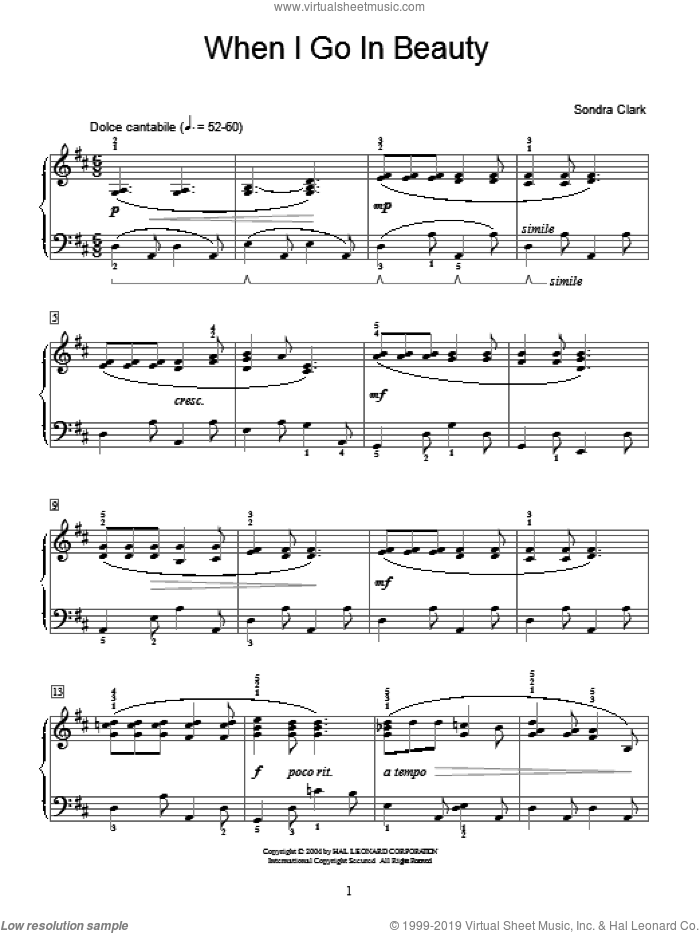 When I Go In Beauty sheet music for piano solo (elementary) by Sondra Clark and Miscellaneous. Score Image Preview.