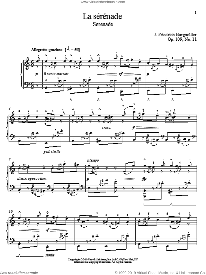 Serenade sheet music for piano solo by Friedrich Johann Franz Burgmuller, classical score, intermediate. Score Image Preview.