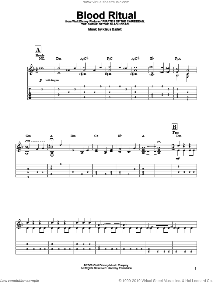 Blood Ritual sheet music for guitar solo (easy tablature) by Klaus Badelt, easy guitar (easy tablature). Score Image Preview.