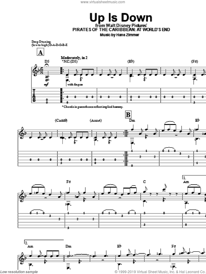 Up Is Down (from Pirates Of The Caribbean: At World's End) sheet music for guitar solo (easy tablature) by Hans Zimmer, easy guitar (easy tablature)