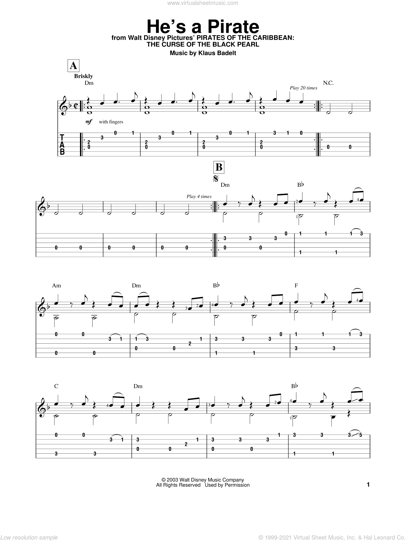 He's A Pirate sheet music for guitar solo (easy tablature) by Klaus Badelt and Pirates Of The Caribbean: The Curse Of The Black Pearl (Movie), easy guitar (easy tablature)