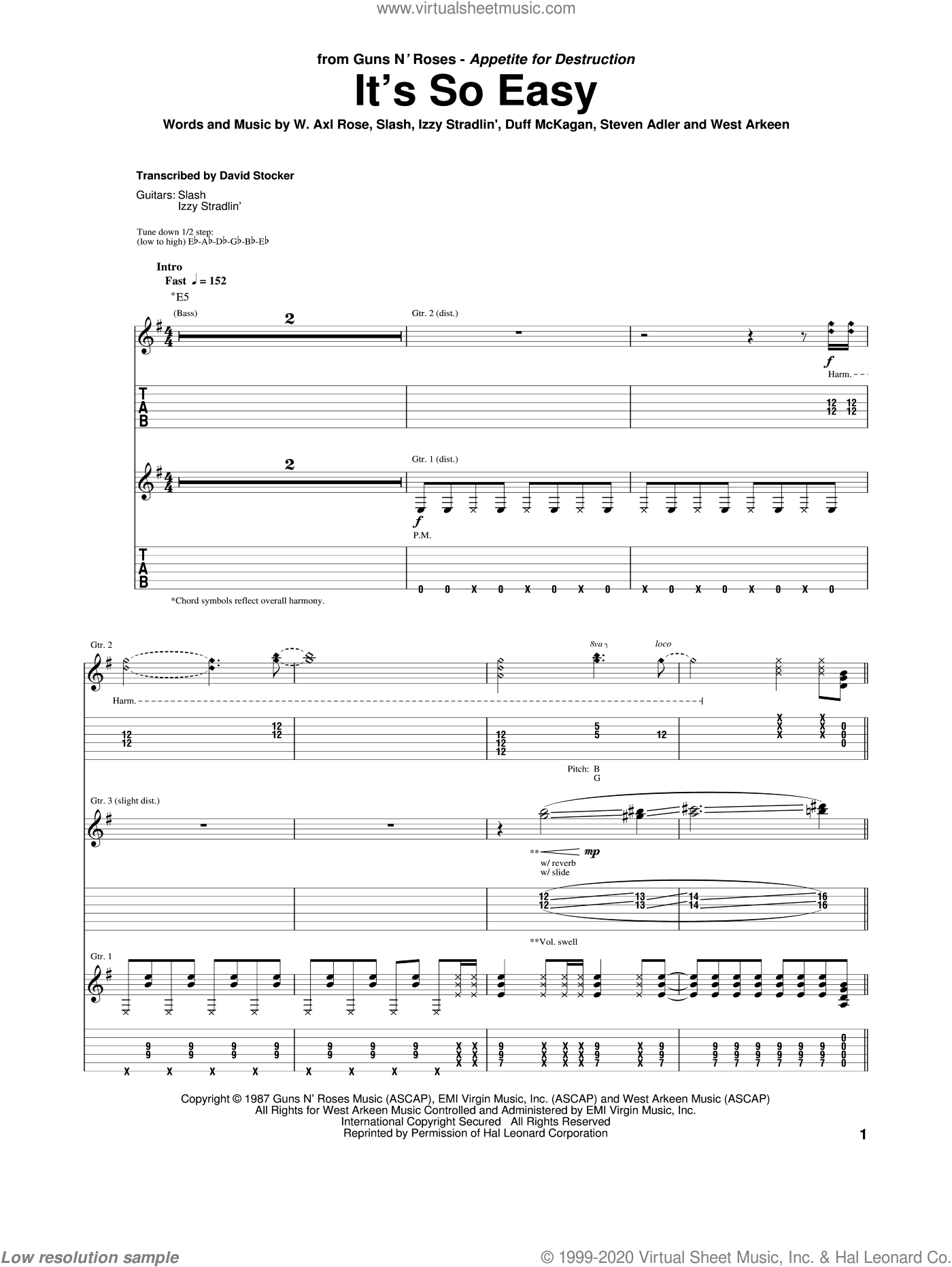It's So Easy sheet music for guitar (tablature) by West Arkeen, Axl Rose, Duff McKagan, Izzy Stradlin, Slash and Steven Adler. Score Image Preview.