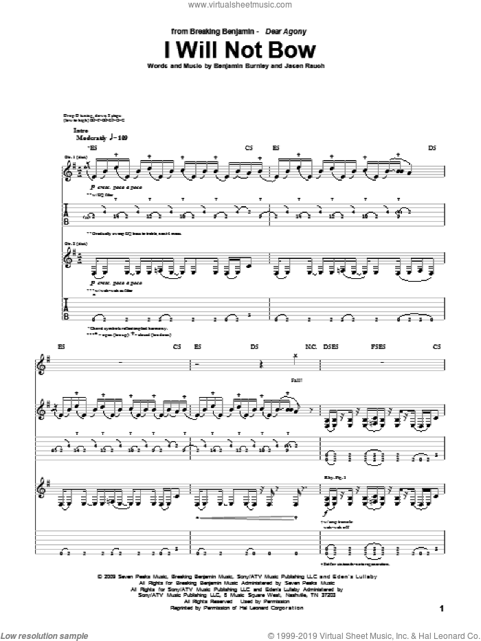 I Will Not Bow sheet music for guitar (tablature) by Jasen Rauch