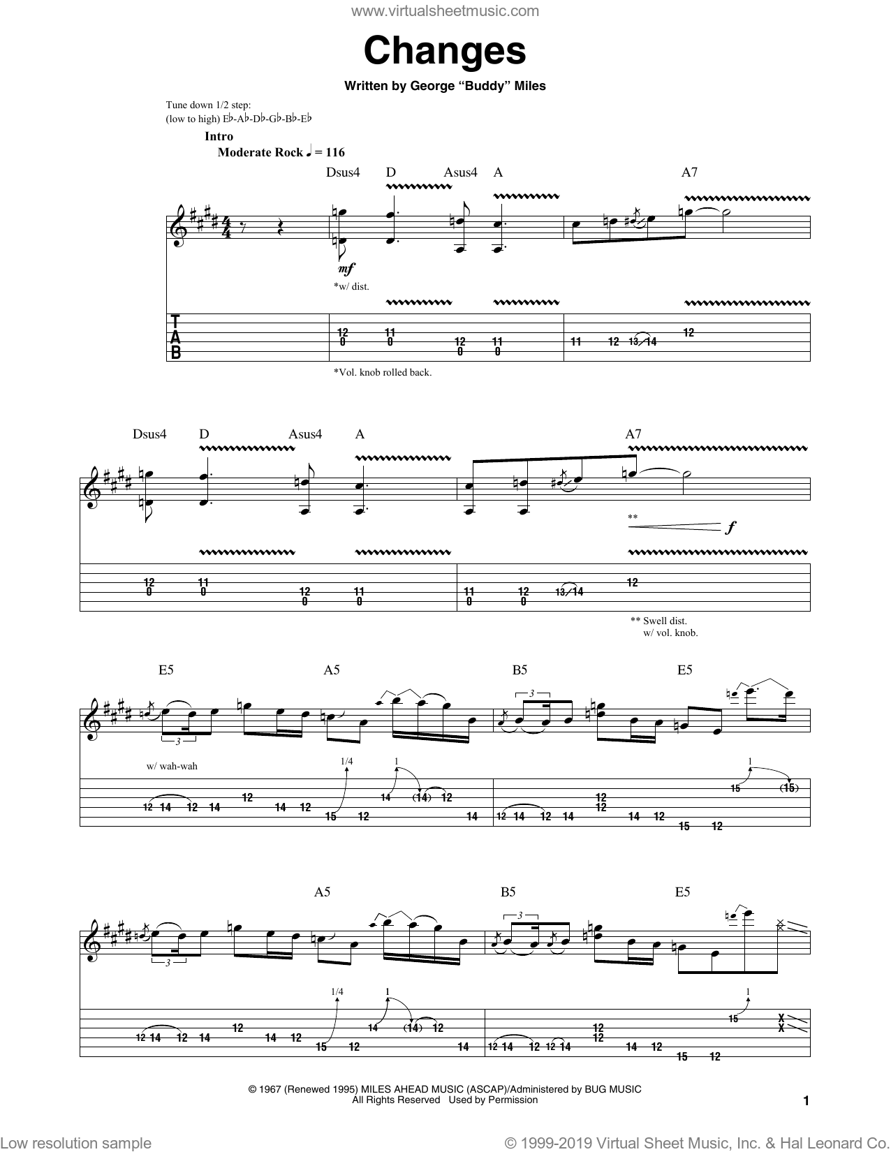 Changes sheet music for guitar (tablature, play-along) by Buddy Miles and Jimi Hendrix. Score Image Preview.