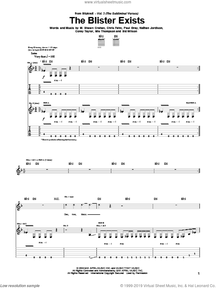 The Blister Exists sheet music for guitar (tablature) by Sid Wilson, Slipknot, Corey Taylor and Paul Gray. Score Image Preview.
