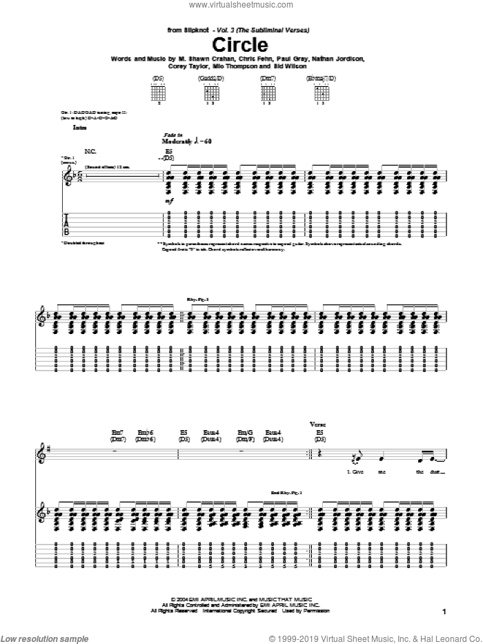 Circle sheet music for guitar (tablature) by Slipknot. Score Image Preview.