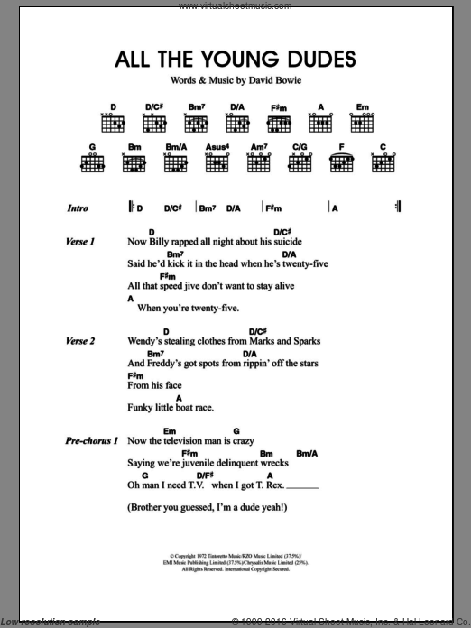 All The Young Dudes sheet music for guitar (chords) by Merle Travis