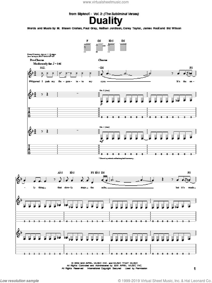 Duality sheet music for guitar (tablature) by Sid Wilson, Slipknot, Corey Taylor, James Root and Paul Gray. Score Image Preview.