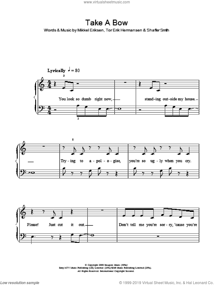 Take A Bow sheet music for piano solo by Rihanna, Mikkel Eriksen, Shaffer Smith and Tor Erik Hermansen, easy skill level