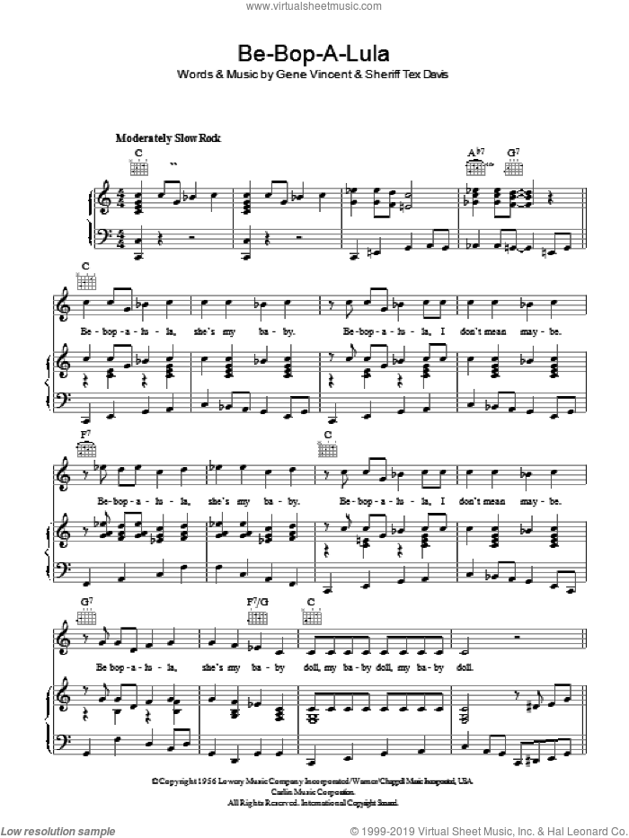 Be-Bop-A-Lula sheet music for voice, piano or guitar by Sheriff Tex Davis. Score Image Preview.