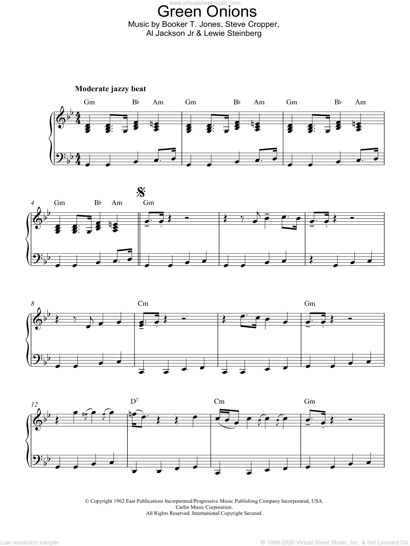 Green Onions sheet music for piano solo by Steve Cropper and Booker T. Jones. Score Image Preview.