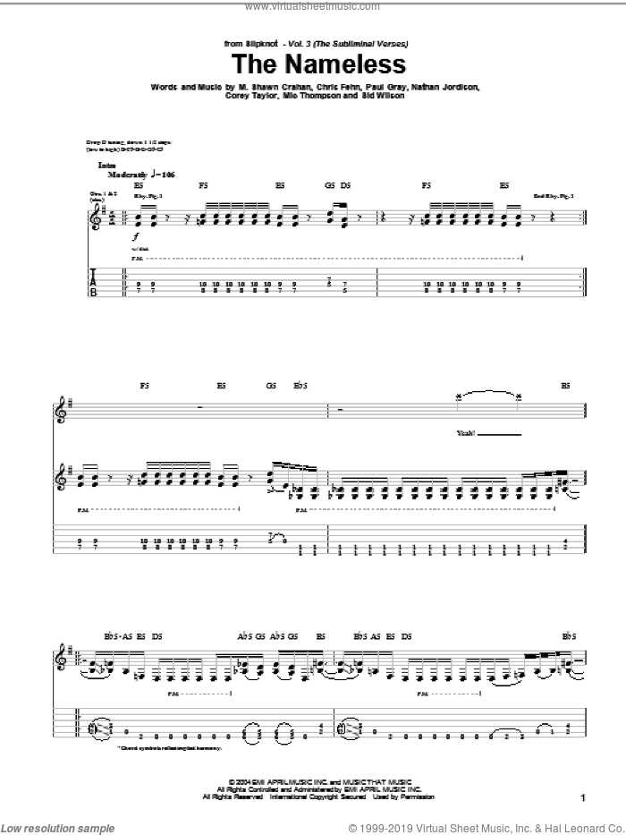 The Nameless sheet music for guitar (tablature) by Slipknot, Chris Fehn, Corey Taylor, M. Shawn Crahan, Mic Thompson, Nathan Jordison, Paul Gray and Sid Wilson, intermediate