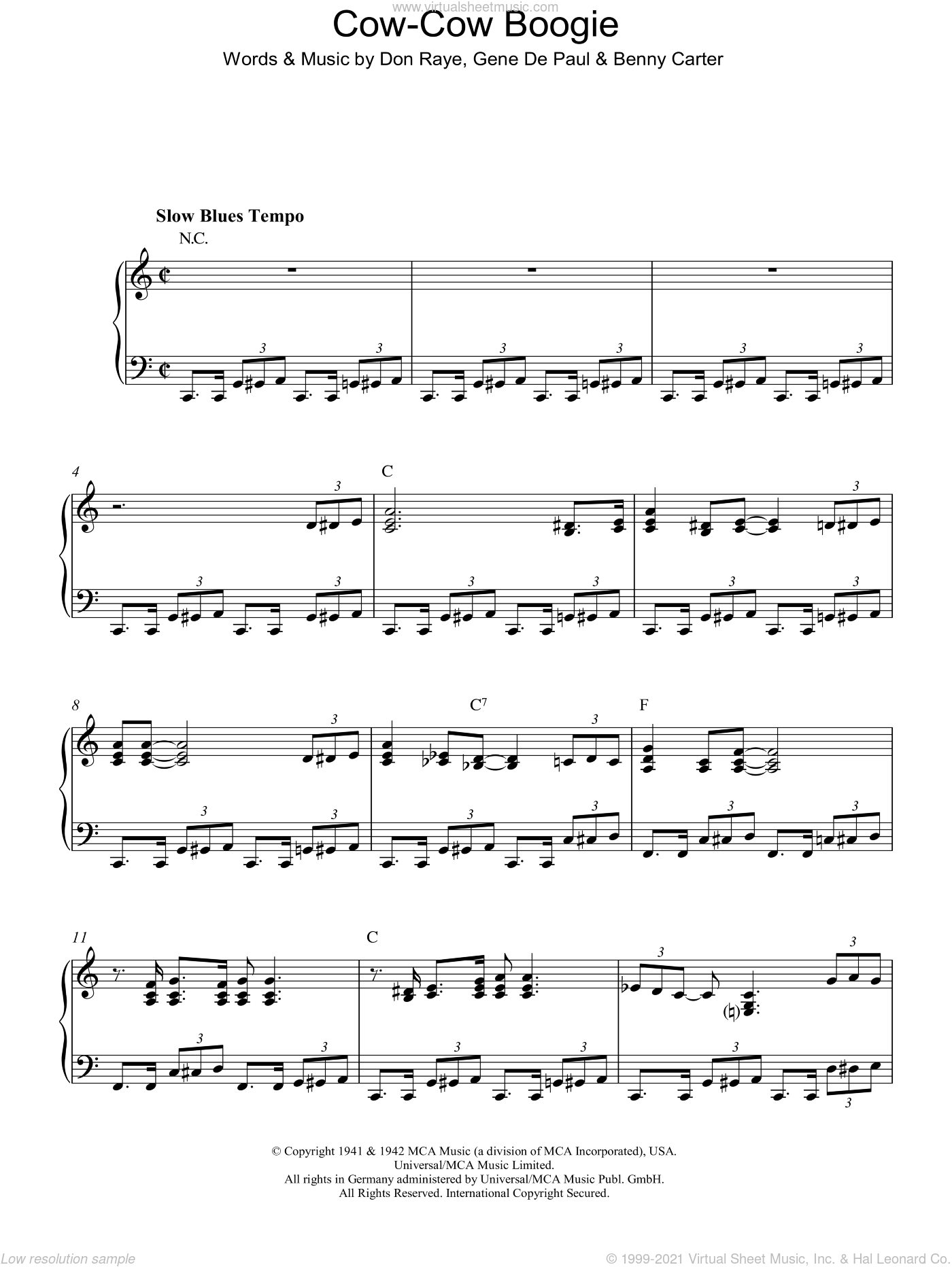 Cow-Cow Boogie sheet music for piano solo by Gene DePaul, Ella Fitzgerald, Benny Carter and Don Raye. Score Image Preview.