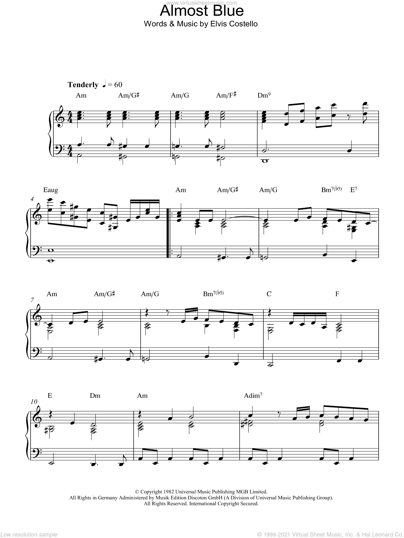 Almost Blue sheet music for piano solo by Elvis Costello and Diana Krall, intermediate