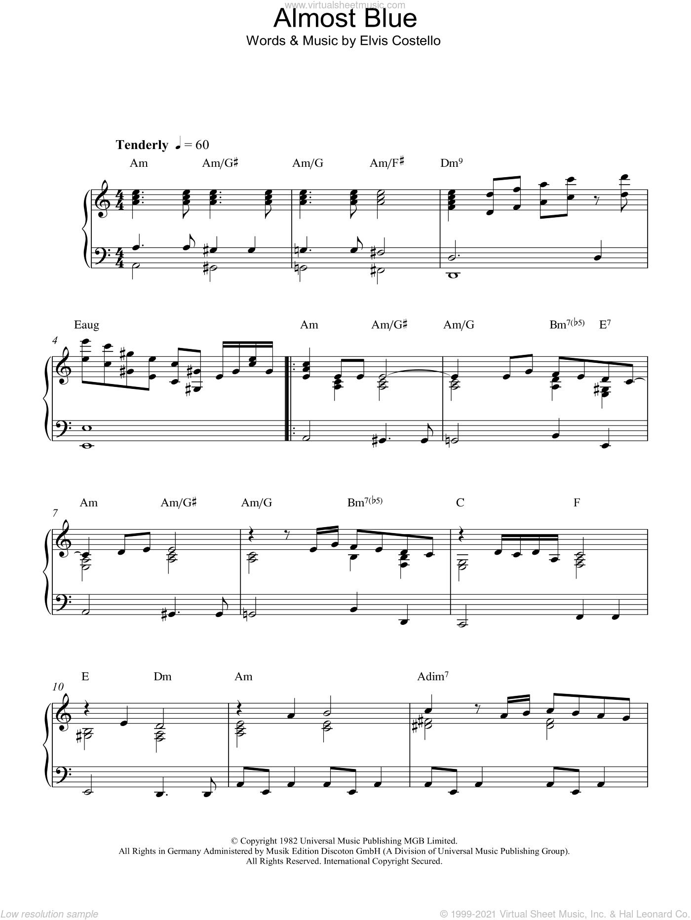 Costello - Almost Blue sheet music for piano solo [PDF]