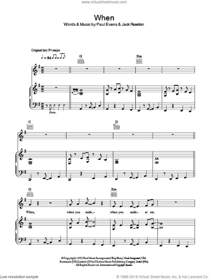 When sheet music for voice, piano or guitar by Paul Evans