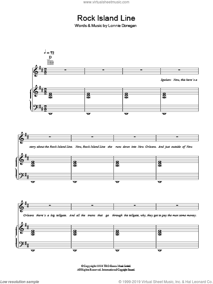 Rock Island Line sheet music for voice, piano or guitar by Lonnie Donegan. Score Image Preview.