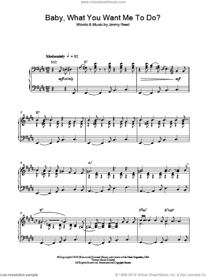 Baby, What You Want Me To Do sheet music for piano solo by Jimmy Reed. Score Image Preview.