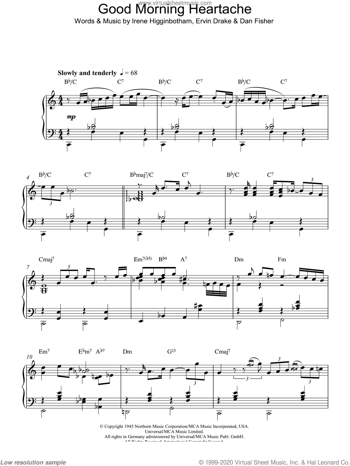 Good Morning Heartache sheet music for piano solo by Billie Holiday, Dan Fisher, Ervin Drake and Irene Higginbotham. Score Image Preview.