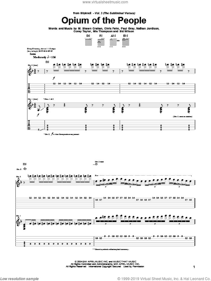 Opium Of The People sheet music for guitar (tablature) by Sid Wilson