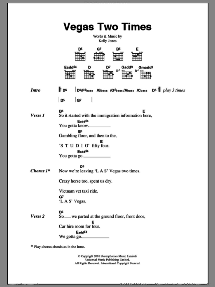 Vegas Two Times sheet music for guitar (chords) by Stereophonics and Kelly Jones, intermediate skill level