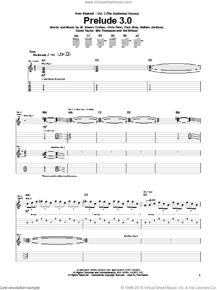 Prelude 3.0 sheet music for guitar (tablature) by Sid Wilson, Slipknot, Corey Taylor and Paul Gray. Score Image Preview.