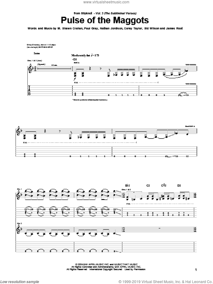 Pulse Of The Maggots sheet music for guitar (tablature) by Sid Wilson, Slipknot, Corey Taylor, James Root and Paul Gray. Score Image Preview.