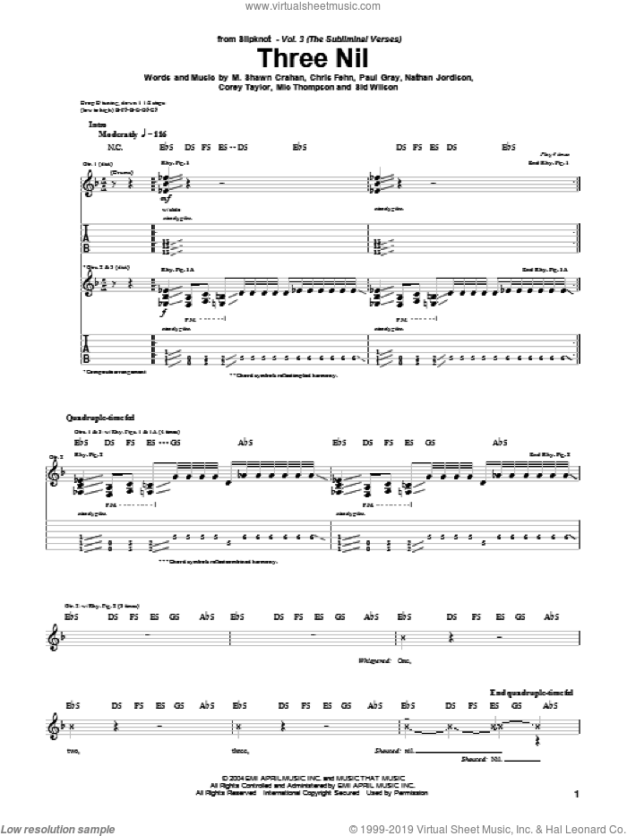 Three Nil sheet music for guitar (tablature) by Sid Wilson, Slipknot, Corey Taylor and Paul Gray. Score Image Preview.