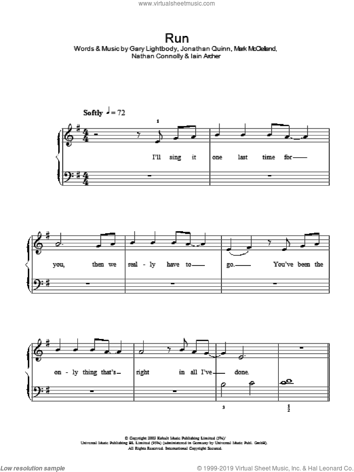 Run sheet music for piano solo by Nathan Connolly, Leona Lewis, Snow Patrol, Gary Lightbody and Iain Archer. Score Image Preview.