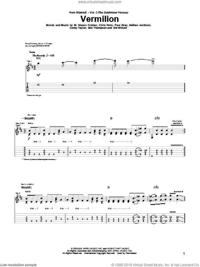 Vermilion sheet music for guitar (tablature) by Slipknot. Score Image Preview.