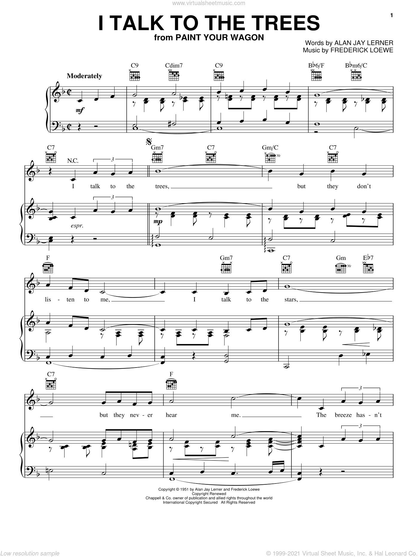 I Talk To The Trees sheet music for voice, piano or guitar by Lerner & Loewe, Paint Your Wagon (Musical), Alan Jay Lerner and Frederick Loewe, intermediate skill level
