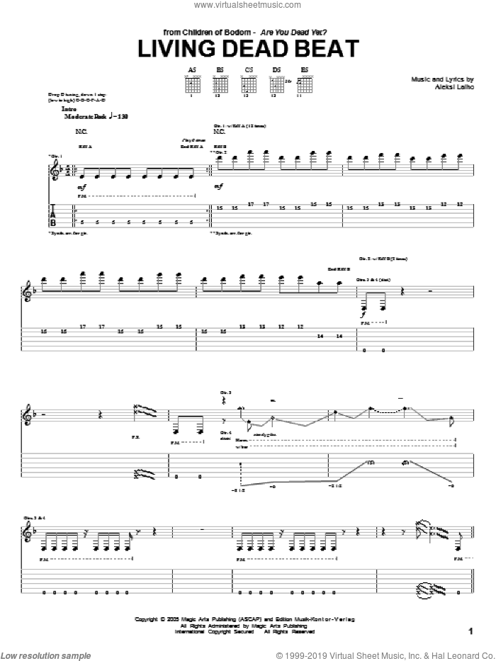 Living Dead Beat sheet music for guitar (tablature) by Children Of Bodom and Alexi Laiho, intermediate skill level