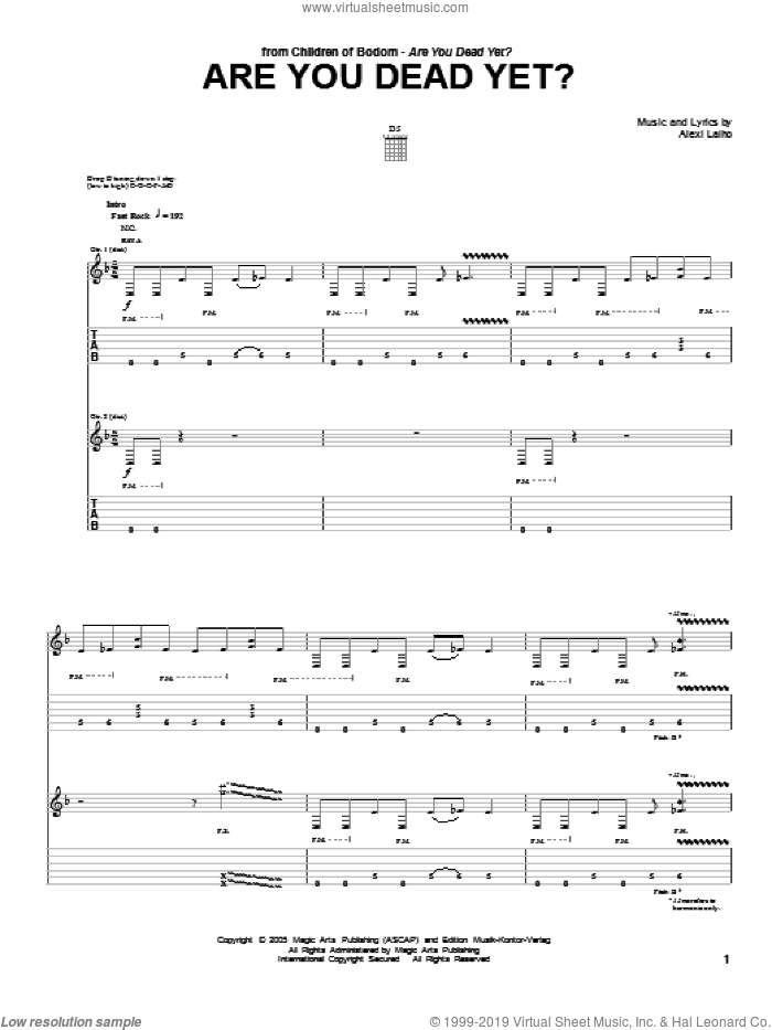 Are You Dead Yet? sheet music for guitar (tablature) by Children Of Bodom and Alexi Laiho, intermediate