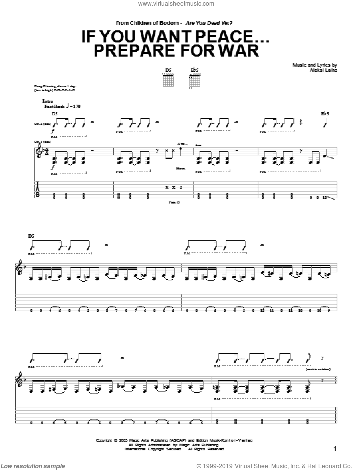 If You Want Peace... Prepare For War sheet music for guitar (tablature) by Alexi Laiho. Score Image Preview.