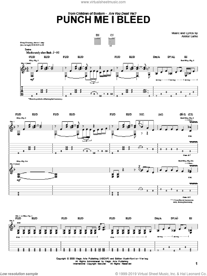 Punch Me I Bleed sheet music for guitar (tablature) by Children Of Bodom, intermediate. Score Image Preview.