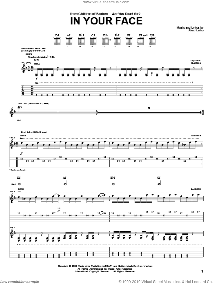 In Your Face sheet music for guitar (tablature) by Alexi Laiho. Score Image Preview.