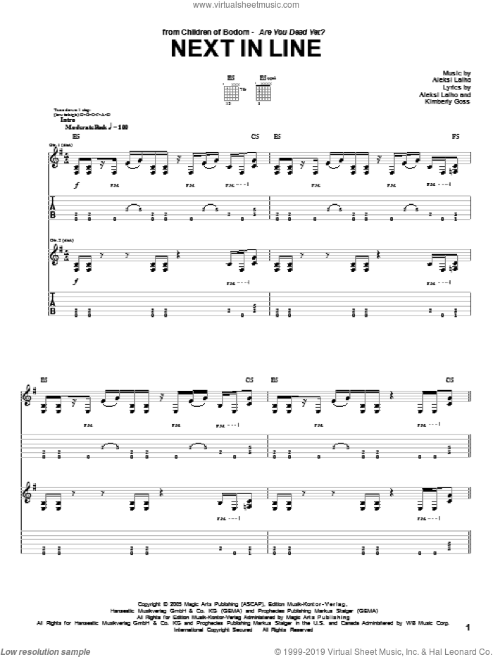 Next In Line sheet music for guitar (tablature) by Kimberly Goss and Alexi Laiho. Score Image Preview.