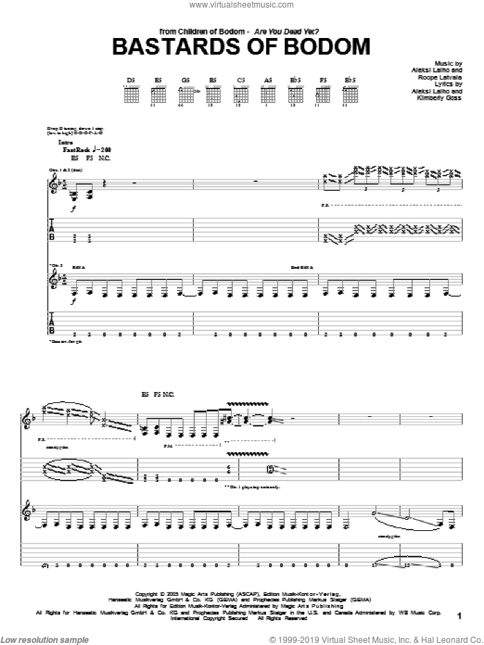 Bastards Of Bodom sheet music for guitar (tablature) by Roope Latvala, Alexi Laiho and Kimberly Goss. Score Image Preview.