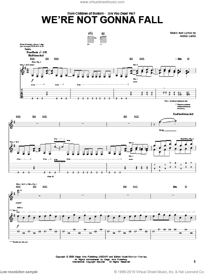 We're Not Gonna Fall sheet music for guitar (tablature) by Alexi Laiho. Score Image Preview.