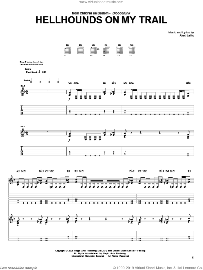 Hellhounds On My Trail sheet music for guitar (tablature) by Alexi Laiho