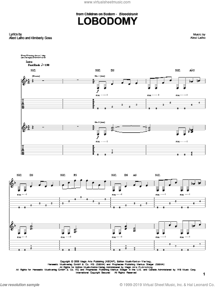 LoBodomy sheet music for guitar (tablature) by Children Of Bodom, intermediate. Score Image Preview.
