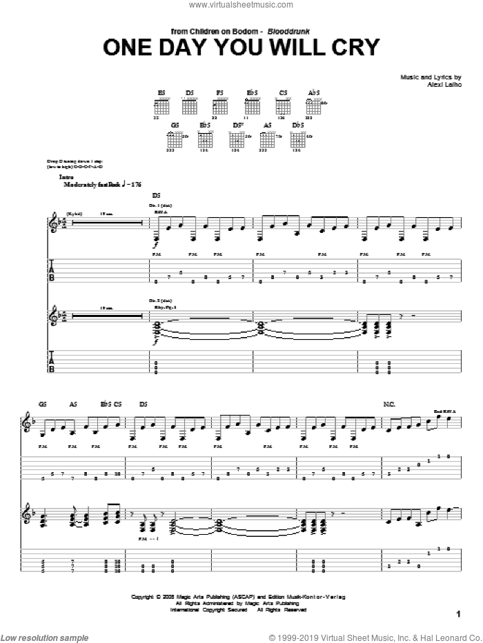 One Day You Will Cry sheet music for guitar (tablature) by Children Of Bodom and Alexi Laiho, intermediate skill level