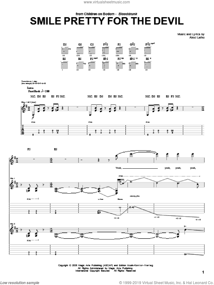 Smile Pretty For The Devil sheet music for guitar (tablature) by Children Of Bodom. Score Image Preview.