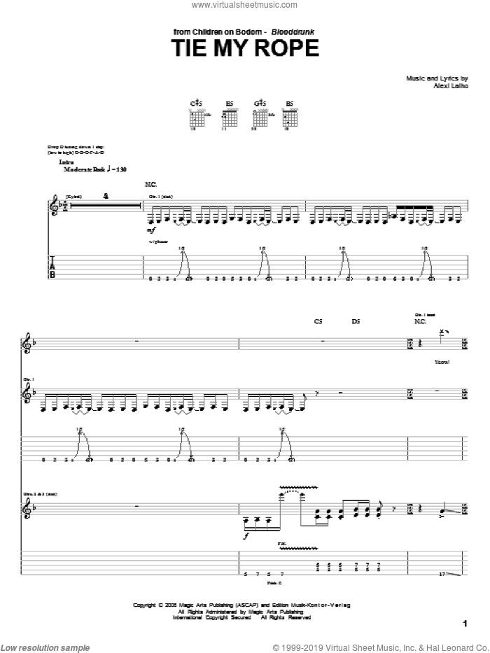 Tie My Rope sheet music for guitar (tablature) by Children Of Bodom, intermediate guitar (tablature). Score Image Preview.