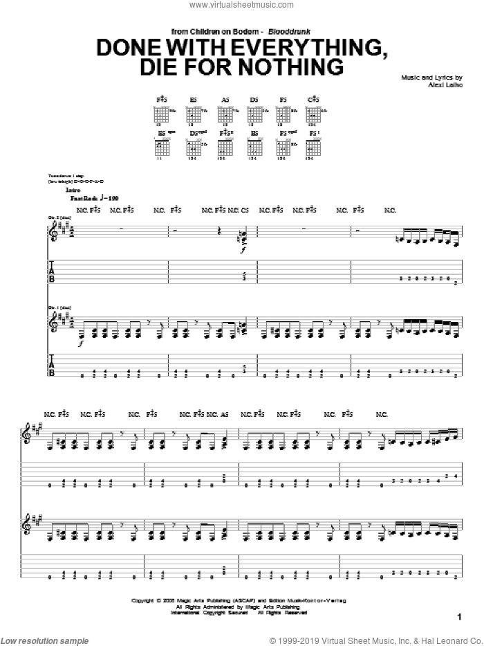 Done With Everything, Die For Nothing sheet music for guitar (tablature) by Children Of Bodom. Score Image Preview.