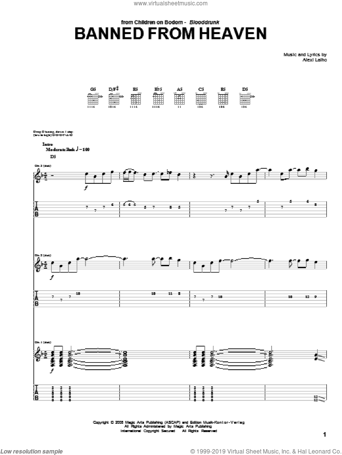 Banned From Heaven sheet music for guitar (tablature) by Children Of Bodom, intermediate. Score Image Preview.