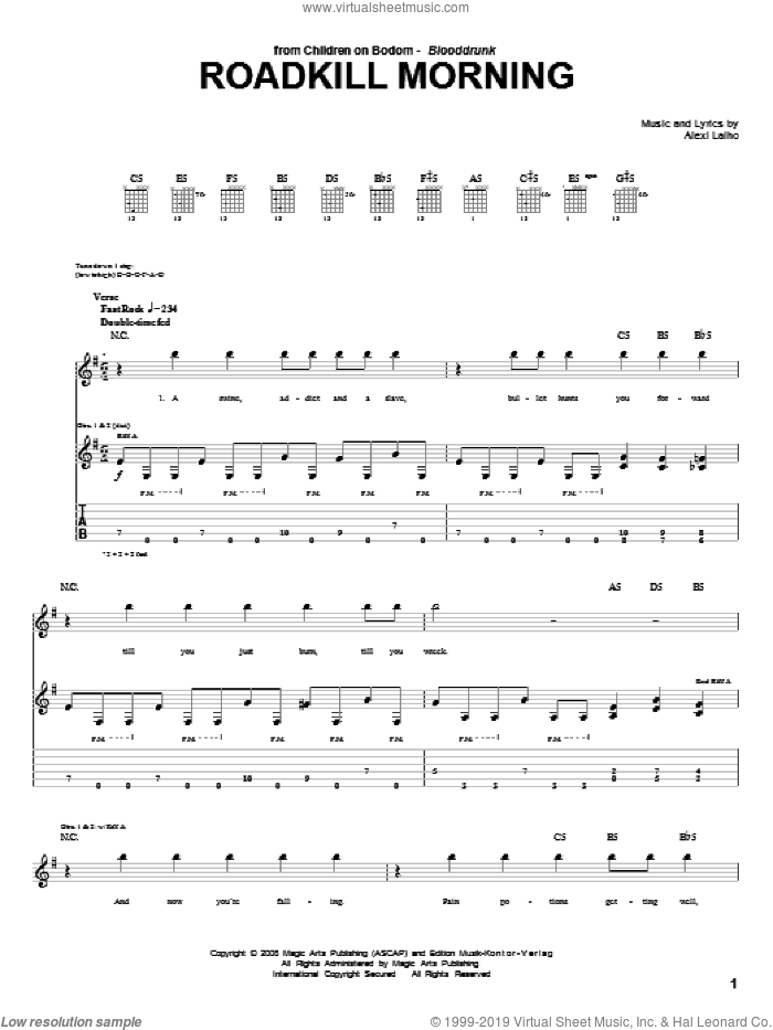 Roadkill Morning sheet music for guitar (tablature) by Alexi Laiho