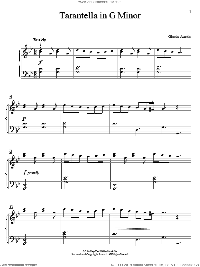 Tarantella In G Minor sheet music for piano solo (elementary) by Glenda Austin, classical score, beginner piano (elementary)